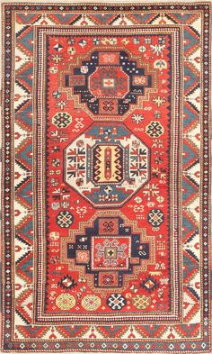 Kazak Rug - Click here to veiw this breathtaking Antique Tribal Caucasian Kazak Rug #46350. This piece is offered by Nazmiyal New York City.