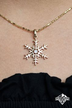 Intricately designed and handcrafted by the designers at Park City Jewelers, this snowflake is created with a fine and delicate look. Your diamond snowflake pendant will be created for you in your choice of 14K white gold, 14K yellow gold, or 14K rose gold. A shimmering diamond is secured beneath prongs of 14K gold at the center of the snowflake. A sparkling bale of 14K gold completes the unique and beautiful design of this diamond snowflake pendant, and the chain is included with this pendant. Cross Pendant, Gold Pendant, Or Rose, Rose Gold, Snowflake Jewelry, Park City, Snowflakes, Jewelery, Designers