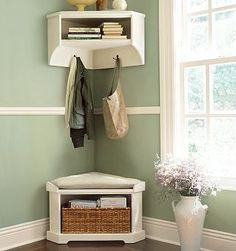 small corner entryway- need to find something like this for front landing at our place *very small space.