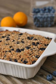 Blueberry-Lemon Baked Oatmeal - a huge portion for 365 calories and 8.3 grams of fiber! #vegetarian #glutenfree
