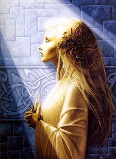 Maria Magdalena / Unknown artist, and she was Jewish with dark hair but I'm Irish and can't resist the Celtic looking symbols