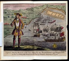 All this global mercantilism led to Mercantilist Wars. This included piracy, often state-sponsored, particularly in places like the Caribbean or West Africa. Here you see: pirate Capt. Bartholomew Roberts raises his sword to his two ships after capturing a fleet of eleven English, French, and Portuguese slave ships off the coast of Africa. The ships surrendered without a fight because the commanders and crews had gone ashore to deal with captives and cargoes.