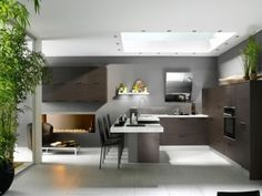 French kitchen interior design pictures from kitchen maker Perene. Article highligts some very beautiful kitchen designs Modern French Kitchen, Modern Kitchen Interiors, Modern Kitchen Design, French Kitchens, Kitchen Contemporary, Spanish Kitchen, Asian Kitchen, Contemporary Design, Beautiful Kitchen Designs