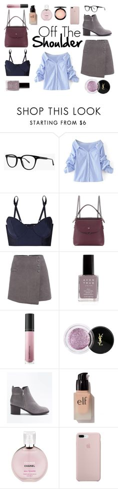 """Off the shoulder"" by maggiec003 ❤ liked on Polyvore featuring Garrett Leight, WithChic, Lonely, Fendi, Avon, Bare Escentuals, Yves Saint Laurent, New Look, e.l.f. and Chanel"