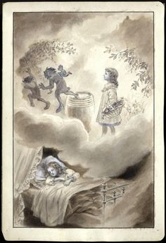 Little St. Therese dreams that devils are afraid of her. Ink wash by Charles Juvenot.
