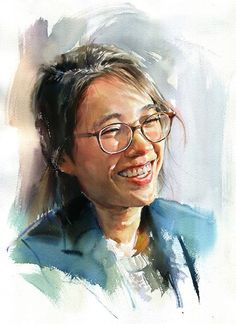 Misulbu, watercolor {contemporary figurative art female head eyeglasses woman face portrait painting #loveart}