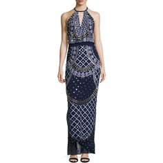 Temperley London Women's Kekipi Silk Beaded Halterneck Gown - Dark... ($1,699) ❤ liked on Polyvore featuring dresses, gowns, navy gown, halter gown, navy blue evening gown, navy blue gown and dark blue ball gown