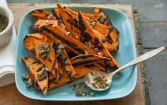 These easy to make grilled sweet potatoes are a wonderfully healthy substitution for fries or roasted potatoes made with oil. Watch the grill so the potatoes get tender with just a little bit of char and not burnt. Serve with a side of mixed greens.