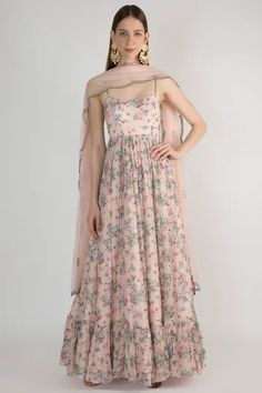 Pale Pink Floral Printed Anarkali WIth Dupatta Design by Pleats by Kaksha & Dimple at Pernia's Pop Up Shop Indian Gown Design, Dress Indian Style, Pakistani Dress Design, Abaya Style, Simple Kurti Designs, Kurta Designs Women, Ethnic Outfits, Ethnic Dress, Indian Wedding Outfits