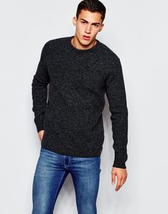 ASOS Lambswool Rich Jumper with All Over Rib