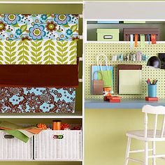 This fabulous wrapping station is a great addition to any crafts room. Made for closet organization, simple cabinets such as these are great for other uses as well. Pegboard added to the wall lets you hang hooks and containers to store embellishments and other small gift wrap and crafts supplies. Ribbon boxes are available in many sizes and keep ribbon in check.