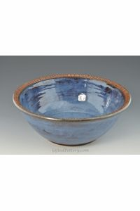 "Handmade Pottery 10.5"" Bowl in Smokey Bright Blue $65"
