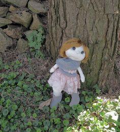 HANDMADOWO: Małgosia #handmade #doll #anioł #aniołek #angel #szyte #pszczoła #przebranie #lalka #koronka #szare #grey