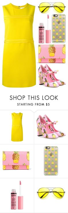 """""""WHEN PINK MET YELLOW"""" by zayngirl27 ❤ liked on Polyvore featuring Victoria, Victoria Beckham, Dolce&Gabbana, Casetify, Charlotte Russe, yellow and Pink"""