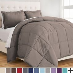 Ultra-Soft Premium 1800 Series Goose Down Alternative Comforter Set - Hypoallergenic - All Season - Plush Siliconized Fiberfill (Full/Queen - Taupe), Gray