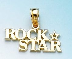 """Amazon.com: 14k Gold Profession Necklace Charm Pendant, Rock Star With A """"""""star"""""""" Highly Pol: Million Charms: Jewelry"""