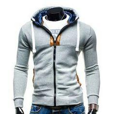 Hooded Drawstring Long Sleeve Selvedge Embellished Men's Hoodie - Light Gray L Mobile Men's Hoodies, Cool Hoodies, Hooded Sweatshirts, Sweatshirts Online, Cheap Mens Fashion, Men's Fashion, Fashion Online, Slim Fit Hoodie, Mens Clothing Styles