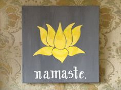 Yellow Lotus Namaste Acrylic Painting on Canvas by MWstyle on Etsy, $30.00