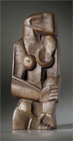 Womanstanding - Ossip Zadkine --- Hier zijn de restvormen goed gebruikt zoals bijvoorbeeld zie je de ene tiet bol en de ander is ingedeukt. verder is het op menselijke verhoudingen terwijl het door de rechte vormen niet echt menselijk lijkt