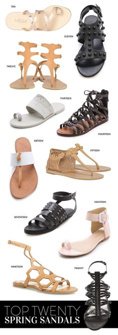 Top 20 Flat Sandals for Spring - I'm on top of it because I already have a few. (: