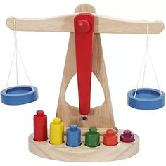 Children Toy Wooden Balance Scale with 6 Weights, Great for Children's Learning in Stacking Blocks. Wooden Baby Toys, Wood Toys, Steam Toys, Wooden Playset, Preschool Toys, Toy Store, Building Toys, Educational Toys, Gifts For Kids