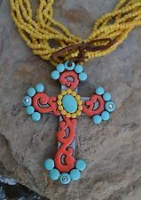Cowgirl Bling Clay CROSS Flowers Turquoise Yellow Bead Gypsy necklace