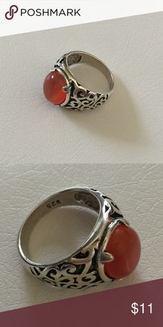 925 silver and red ring sz 7 New! Sz 7 Jewelry Rings