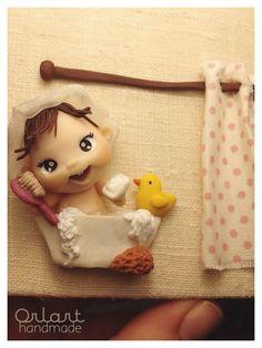 Targhetta per bagno realizzata con pasta polimerica interamente a mano