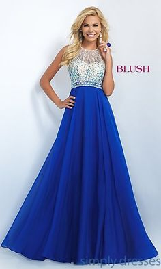 Shop Blush prom dresses and beaded evening gowns at Simply Dresses. Pageant dresses and ball gowns with beading and long chiffon skirts.