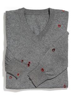 Button hole stitch around moth holes