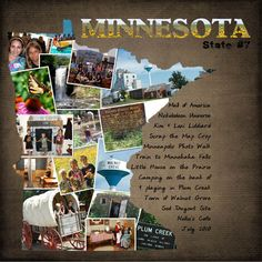 Love this for a cover page, leaving page, trip page that is a collection of pictures in a map of the state.  Could be used for the states we lived in or the countries we have lived in/visitied!!  Wo