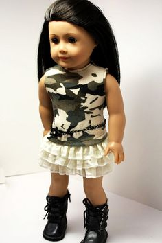 American Girl Doll ClothesCamo Shirt Ruffled by sewurbandesigns, $22.00