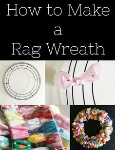 How to Make a Rag Wreath - Simple Simon and Company Wreath Crafts, Ribbon Crafts, Fabric Crafts, Wreath Ideas, Tulle Crafts, Decor Crafts, Wood Crafts, Rag Wreath Tutorial, Holiday Wreaths