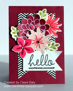 Stampin Up Flower Patch Stamp Set and Flwer Flair Framelits by Claire Daly Stampin Up Demonstrator Melbourne Australia www. Stampin Up, Scrapbooking, Scrapbook Cards, Kirigami, Stamping Up Cards, Rubber Stamping, Flower Patch, Cards For Friends, Paper Cards