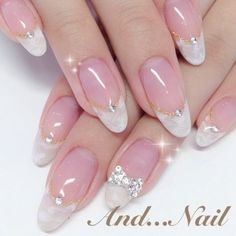 french nails acrylic Tips Classy Nail Designs, Beautiful Nail Designs, Nail Polish Designs, Nail Art Designs, Elegant Nails, Stylish Nails, French Nails, Bridal Nails Designs, Stone Nail Art