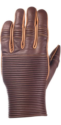 RIDE&SONS Emblem Leather Gloves Brown / Camel