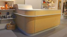 Sales point desk made for the Gloucestershire Guild of Craftsmen's flagship shop 'Guild at 51' in Cheltenham.  Made from Ash, cluster burr Ash and spray painted MDF