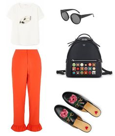 Wear this outfit with confidence @gucci @mango @fendi @riverisland  #stylishdressing #casualstyle #stylish #comfy #clothes #outfits #loafers #redandblack #rufflepants #backpack #sunglasses