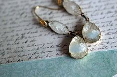White Frost Earrings - Vintage White Givre Sugar Stone Dangles - Pale Ice Blue - Winter Glamour - Gold Brass - Gift Box on Etsy, $26.00