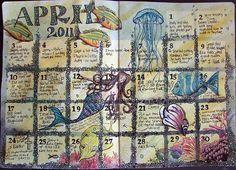 April Calendar - art journal calendar
