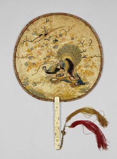 China Century - The Fitzwilliam Museum : Gallery Hand Held Fan, Hand Fans, Painted Fan, Hand Painted, Chinese Pagoda, Chinese Fans, Chinese Element, Antique Fans, Fan Decoration