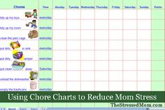 FREE Excel Chore Chart template! -- TheStressedMom.com