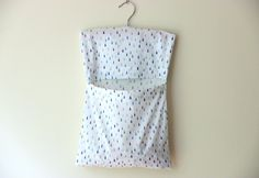 Clothespin bag raindrops print large by NutmegNaturalsCT on Etsy