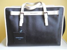 Cynthia Rowley Black Safiano Leather Dog Cat Pet Carrier Tote Handbag Shopper