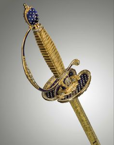 A French Louis XVI dress smallsword and scabbard mounted in gold, diamonds and enamel, Paris, ca. 1784