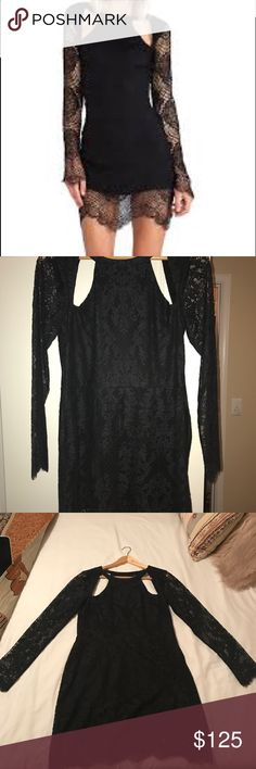 """For Love & Lemons Love Eternal Dress in Black Can't find it anywhere else online! Not as short on as the model makes it look, and I'm almost 5'7"""". Fits like a 6ish. Perfect condition, but I took the tags off and wore it for like 2 hours. Look it up on Revolve to verify the original price! For Love And Lemons Dresses Mini"""