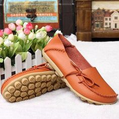 Hot-sale Big Size Pure Color Slip On Lace Up Soft Sole Comfortable Flat Loafers - NewChic