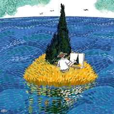 Iranian cartoonist Alireza Karimi Moghaddam shares his admiration for Vincent van Gogh in an ongoing comic series starring the Post-Impressionist painter. Vincent Van Gogh, Creative Illustration, Illustration Art, Van Gogh Arte, Van Gogh Pinturas, Ciel Nocturne, Most Famous Paintings, Aesthetic Colors, Fan Art