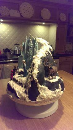 Frozen north mountain ice palace cake