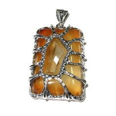 Agate Druse pendant sterling silver, handmade, solid 925 silver, natural agate Druse, size 3.5*2.5 cm by StudioLangeron on Etsy